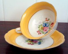 Antique Japanese Yellow Teacup & Saucer