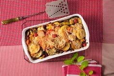 Golden Squash, Pepper, and Tomato Gratin