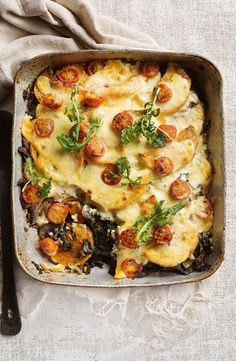 Pumpkin, silverbeet and mushroom bake