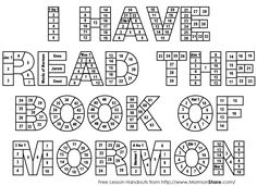 Latter Day Saint - Book of Mormon Reading Chart and teaching tools. Reading charts for every member of the family.