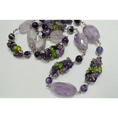 Purple Faceted Amethyst Peridot Statement Big Bead Long Necklace,... ❤ liked on Polyvore featuring jewelry, necklaces, party necklaces, long gemstone necklace, amethyst jewelry, beads jewellery and purple necklace