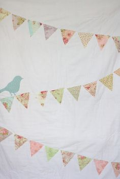A Bunting Quilt with bird sewn by craftingzuzzy #baby #quilt