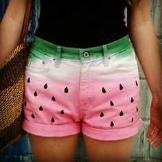 DIY Watermelon Shorts:  *Start with white shorts (I chose a vintage high-waisted pair, naturally) *Dip-dye the bottom pink, using RIT dye is cheap and easy *Dip-dye the top green *Draw on your seeds with a black fabric marker (got mine from Michaels)  Tips: wash out excess dye then let the shorts dry between each step! Don't use the fabric marker on wet fabric, the color might bleed!  Good luck!