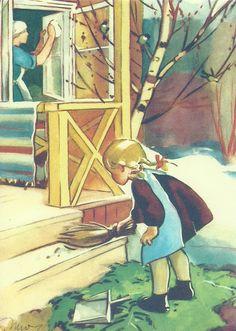 Spring Cleaning - vintage postcard, Martta Wendelin