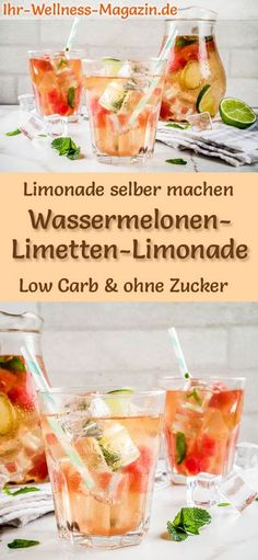 Wassermelonen-Limetten-Limonade selber machen: Low-Carb-Rezept für selbstgemach… Make watermelon-lime lemonade yourself: low-carb recipe for homemade lemonade without sugar – healthy, low-calorie, quick and easy … free it Yourself Detox Recipes, Low Carb Recipes, Healthy Recipes, Baby Puree Recipes, Baby Food Recipes, Healthy Drinks, Healthy Snacks, Watermelon Lemonade, Homemade Lemonade