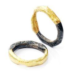 Disa Allsopp,  Half 18kt gold, half oxidised silver organic bands