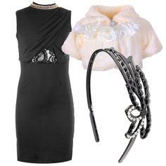 Элегантное маленькое черное платье-футляр с модной драпировкой на груди прекрасно сочетается с болеро и ободком, усыпанном стразами.