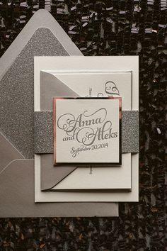 KATHRYN Suite Glitter Package, classic silver wedding invitation, script wedding invitations, beautiful wedding invitations, silver glitter envelopes, letterpress wedding invitations