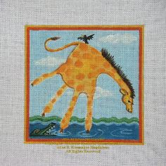 giraffe handprint  Annies Current Paintings: Childrens Hand Print Zoo Animals for Needlepoint