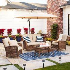 Cosco Outdoor Steel Woven Wicker Patio Conversation Set with Coffee Table (4-piece patio set with coffee table, brown and tan), Size 4-Piece Sets, Patio Furniture (Fabric)