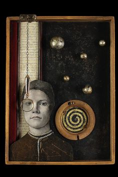 Mixed Media assemblage and collage art by Chicago artist Kass Copeland. Handmade boxes created from discarded, recycled furniture inspired by Joseph Cornell. Found Object Art, Found Art, Art Postal, Wal Art, Art Sculpture, Metal Sculptures, Abstract Sculpture, Bronze Sculpture, Shadow Box Art