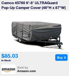"""Ideal for cold, snowy regions * Triple layer SFS top panel beads water on contact providing maximum resistance to rainfall and snow * Heavy-duty polypropylene fabric sides and self-adjusting hold down strap system * Fits 6'-8' Pop-Up Camper and measures 46""""H x 87""""W * Vented flaps reduce wind lofting and inside moisture * 11:34 Jan 31 2017"""