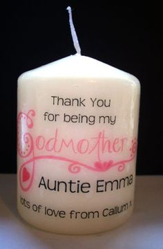 Unique Personalised Gift. Candle comes wrapped in cellophane and finished with a ribbon. The colour of the word 'Godmother' can also be changed to suit your christening colours etc. A lovely keepsake.   eBay!