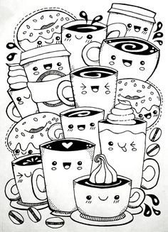 Kawaii Coffee free colouring page – Kate Hadfield Designs Cute Doodle Art, Doodle Art Designs, Doodle Art Drawing, Cute Art, Doodling Art, Doodle Art Letters, Doodle Sketch, Cute Easy Drawings, Cute Kawaii Drawings