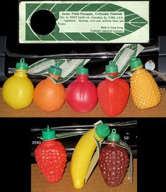 Tom's Foods - plastic candy-filled fruits - candy containers and tag scan - 1970's by JasonLiebig, via Flickr