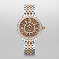 Michele Serein 16 Diamond Two Tone Rose Gold, Cocoa Diamond Dial Watch Mww21b000061 Brown
