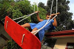 Older kids, meanwhile, will want this skateboard swing in their yard. Like, now.