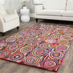 "Bungalow Rose Anaheim Circle Pink Area Rug Rug Size: 2'6"" x 4'6"""