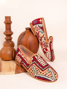 Our Turkish kilim rug loafers are one of a kind. Handmade with a wool upper, leather lining/interior and a inch raise. Turkish Kilim Rugs, Loafers, Leather, Silk, Shoes, Sandals, Fashion, Zapatos, Travel Shoes