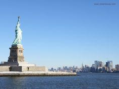 Vue de la statue de la liberté et de Manhattan