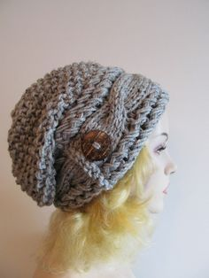 Slouchy Beanie Slouch Cable Hats Oversized Baggy Beret Button womens fall winter accessory Smoky Grey Super Chunky Hand Made Knit