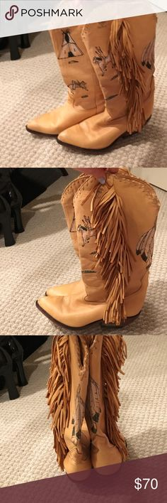 Zodiac genuine leather fringe cowboy boots Super cute high quality leather with fringe tassels.  They smell like brand-new leather! Zodiac Frontier Shoes Heeled Boots
