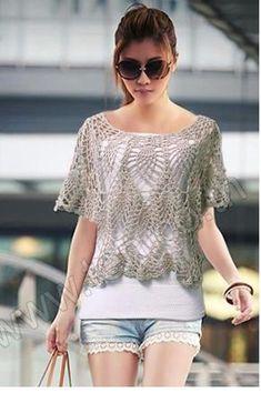 Crochetemoda: Crochet - Blusa Cinza