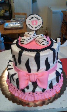 Zebra print themed baby shower cake (contact for quote)