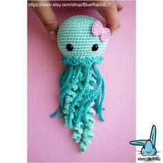 Jenny the Jellyfish amigurumi crochet pattern. PDF digital