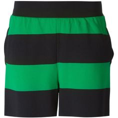 Stella McCartney Rugby Stripes Shorts ($549) ❤ liked on Polyvore featuring shorts, green, stella mccartney, pocket shorts, stella mccartney shorts and green shorts