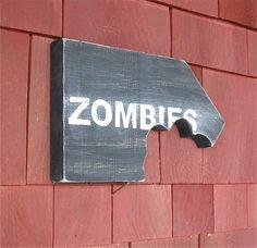 Dorm Room Decor Zombies Chomp Sign