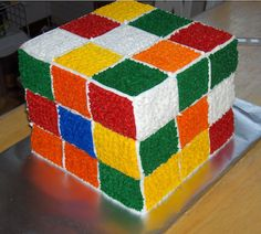 Rubik's cube cake. I couldn't do those straight lines, but I love it! Look @Beth J Knodel!