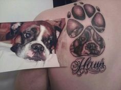 - Boxer dogs are strong, but it doesn't mean that tattoos can't be pretty. Boxer Dog Tattoo, Dog Tattoos, Animal Tattoos, Tatoos, Print Tattoos, Mum Tattoo, Memory Tattoos, Tattoos For Women, Tattoos For Guys