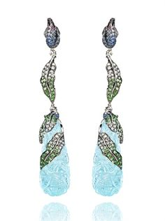 "Wendy Yue for Annoushka ""Peacock"" earrings in rose gold, diamonds and sapphires"