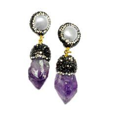 Isis Amethyst and Pearl Earrings