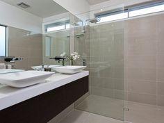 Modern bathroom design with twin basins using chrome - Bathroom Photo 137428 Bathroom Renos, Bathroom Renovations, Bathrooms, Dark Brown Walls, Dark Wood, Bathroom Photos, Mirror Bathroom, Bathroom Ideas, Wall Hung Vanity