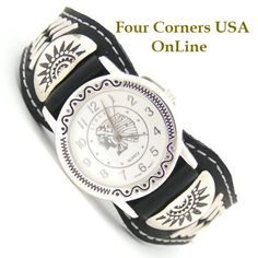 Four Corners USA Online - Men's Sterling Leather Watch Strap Indian Chief Face Native American Indian Navajo Jewelry NAW-1414WH, $125.00 (http://stores.fourcornersusaonline.com/mens-sterling-leather-watch-strap-indian-chief-face-native-american-indian-navajo-jewelry-naw-1414wh/)