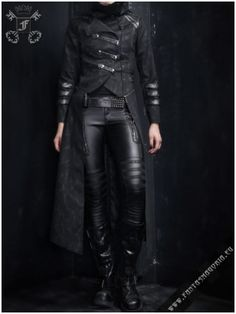 Kinda digging this steampunk thing. i think every nerdy girl has the fantasy of an outfit consisting of leather pants, a flowing coat and then kicking some major ass. Looks Style, Looks Cool, Style Me, Dark Fashion, Gothic Fashion Men, Style Fashion, Gothic Men, Fashion Top, Mode Outfits