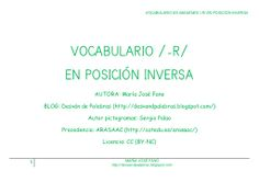 Vocabulario /-r/ en posición inversa Blog, Diana, Audio, Vocabulary, Phonological Awareness, Speech Language Therapy, Note Cards, Author