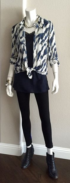 cabi Fall '15 Nouveau Legging, Lace Walk Cami & Moody Blues Blouse with booties. Don't listen to Granny's advice and avoid mixing navy and black. They look chic! #cabiclothing #moodybluesblouse