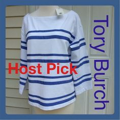 New TORY BURCH Wedge Blue KENDALL TOP W tags & bag Stunning NEW 🌼 TORY BURCH 🌻 Kendall Top.  White with Wedge Blue Ribbon Stripes give this Designer Top a Classic Look. Super Flattering and comfortable. Can be worn all seasons..Cones wrapped in Tory tissue and Bag . Tags are on. Tory Burch Tops