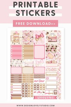 Every Planner Girl Must-Have Stickers Kit! — Design Lovely Studio Mini Happy Planner, Free Planner, Printable Planner Stickers, Printables, Planner Layout, Pink Planner, Erin Condren Life Planner, Me Time, Silhouette Files