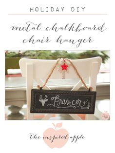 Christmas DIY: Metal Chalkboard Chair Decorations