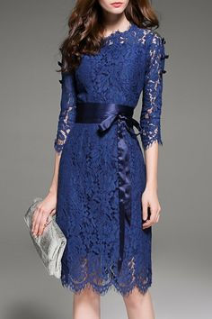 Krush.miu Deep Blue Lace Hollow Out Belted Dress | Knee Length Dresses at DEZZAL