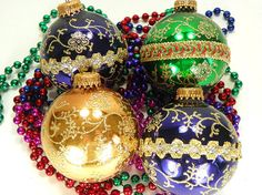 4 Glass Ornaments with Gold Trim Made in USA by Chaseyblue on Etsy