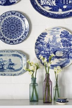 Blue and white plate display