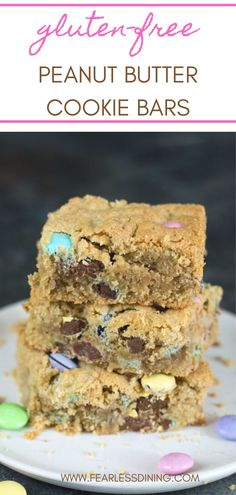 If you love peanut butter, you must make these decadent homemade gluten free peanut butter cookie bars. They are a cross between a peanut butter blondie and peanut butter cookie. Fill with chocolate chips or M&Ms. Peanut Butter Cookie Bars, Gluten Free Peanut Butter Cookies, Best Gluten Free Cookie Recipe, Kinds Of Cookies, Sandwich Cookies, Macaroons, Chocolate Chips, Food To Make, Ms