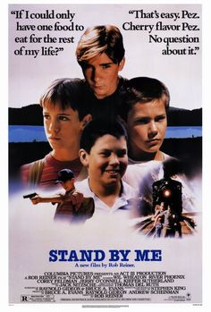 """A DAY in MOVIE HISTORY - Aug """"Stand By Me"""" film based on the novella by Stephen King, directed by Rob Reiner starring Wil Wheaton, River Phoenix, Corey Feldman, and Jerry O'Connell was released See Movie, Movie List, Film Movie, Buddy Movie, 80s Movies, Great Movies, Movies To Watch, 80s Movie Posters, Awesome Movies"""