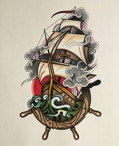 Trendy Tattoo Traditional Old School Ink Tatoo Ideas Traditional Ship Tattoo, Traditional Ink, American Traditional, Traditional Ideas, Traditional Nautical Tattoo, Traditional Mermaid Tattoos, Traditional Tattoo Drawings, Dessin Old School, Old School Ink