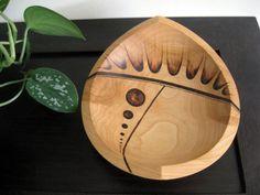 Wooden Bowl - Meteor Bowl, Beech Wood, Anstract Bowl, Wedge Bowl, Pyrography, Woodburning, Made to Order